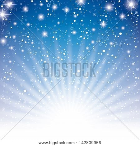 Sky dark blue with star on white light background. Star on night sky background.