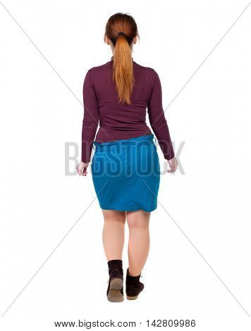 back view of walking  woman. beautiful blonde girl in motion.  backside view of person.  Rear view people collection. Isolated over white background. Girl with red hair tied in a pigtail goes deep