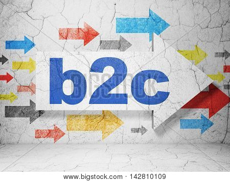 Business concept:  arrow with B2c on grunge textured concrete wall background, 3D rendering