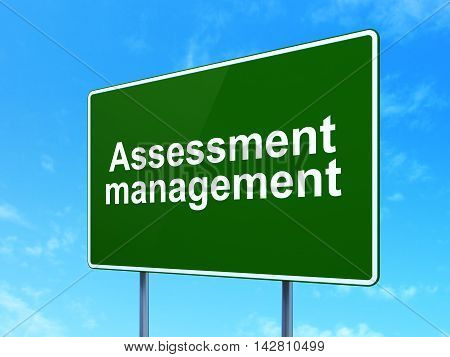 Finance concept: Assessment Management on green road highway sign, clear blue sky background, 3D rendering