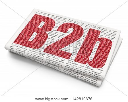 Business concept: Pixelated red text B2b on Newspaper background, 3D rendering