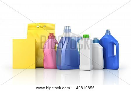 Washing concept. Set of bottles of detergent and washing powder with empty labels. 3d illustration