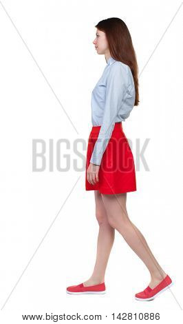 back view of walking  woman. beautiful blonde girl in motion.  backside view of person.  Rear view people collection. Isolated over white background. Long-haired brunette in red skirt is a sad side.