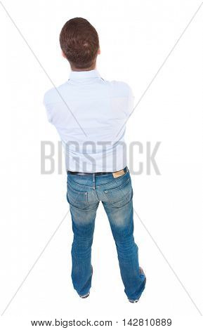 back view of Business man  looks.  Rear view people collection.  backside view of person.  Isolated over white background. businessman in white shirt. view from above.