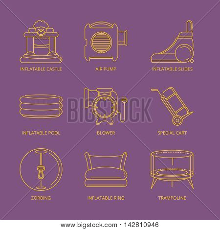 Vector mono line icons set of inflatable castles, slides, round pool, trampoline for kids and accessory for inflatable playground. Linear style Isolate on dark background