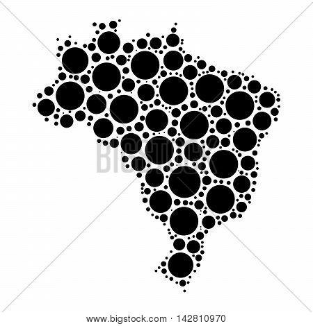Brasil Map Mosaic Of Circles