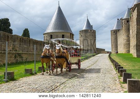 CARCASSONNE FRANCE - MAY 05 2015: Medieval castle and city of Carcassonne Languedoc - Roussillon France