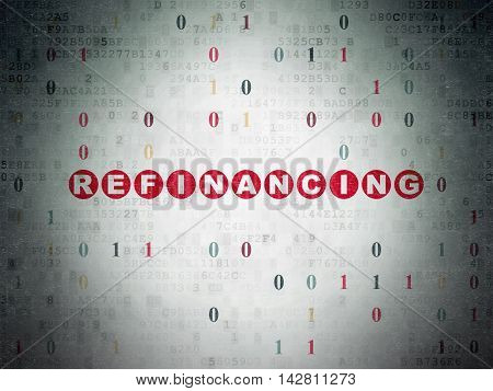 Finance concept: Painted red text Refinancing on Digital Data Paper background with Binary Code