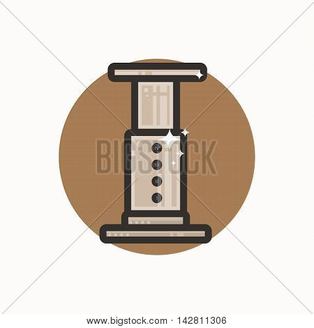 Vector icon of aeropress. Icon is in lineart style. Symbol on brown circular background.
