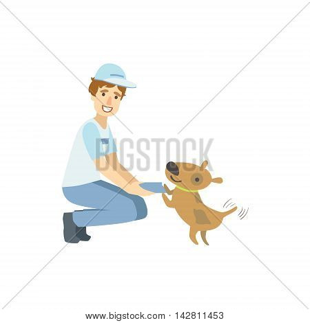 Volunteer Playing With The Rescue Dog Flat Illustration Isolated On White Background. Simplified Cartoon Character In Cute Childish Manner.