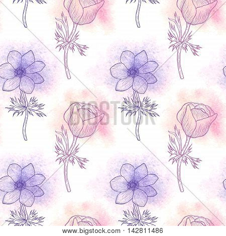 Floral seamless pattern of watercolor flower anemone in colors of 2016, flower seamless background for card, mothers day, wedding, birthday, textile, web, wallpaper, wrapping. Vector anemone