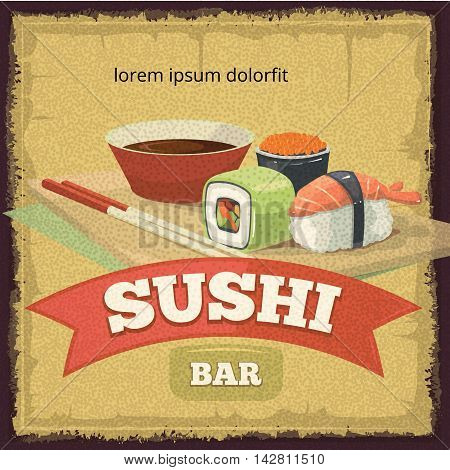 Vector vintage poster with emblem of sushi banners, traditional japan food. tamplate for cover or logo design. Illustrations with place for your text.