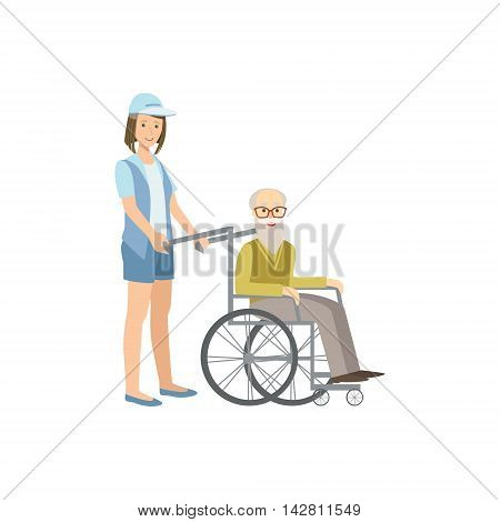 Volunteer Rolling Old Man In Wheelchair Flat Illustration Isolated On White Background. Simplified Cartoon Character In Cute Childish Manner.
