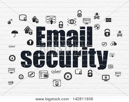 Security concept: Painted black text Email Security on White Brick wall background with  Hand Drawn Security Icons