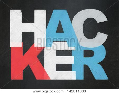 Safety concept: Painted multicolor text Hacker on School board background, School Board
