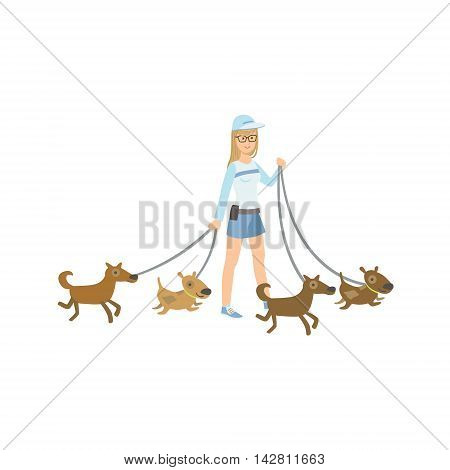 Girl Volunteer Walking Rescued Dogs Flat Illustration Isolated On White Background. Simplified Cartoon Character In Cute Childish Manner.