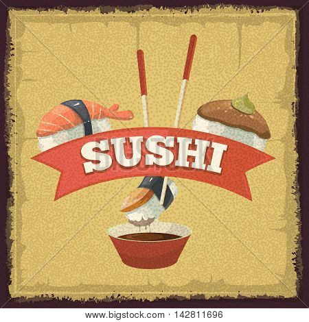Vector vintage poster with sushi banners, traditional japan food. tamplate for cover or logo design. Illustrations with place for your text.