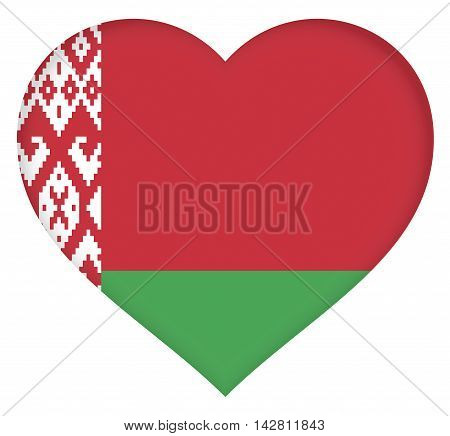 Illustration of the flag of Belarus shaped like a heart