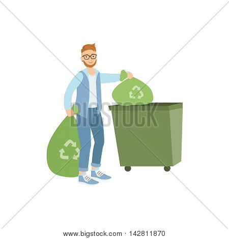 Volunteer Throwing Away Trash For Recycling Flat Illustration Isolated On White Background. Simplified Cartoon Character In Cute Childish Manner.
