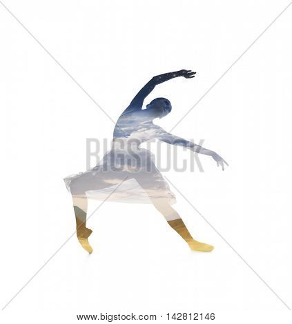 Double exposure trace of young beautiful ballet dancer isolated on white.