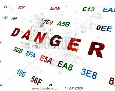 Protection concept: Pixelated red text Danger on Digital wall background with Hexadecimal Code