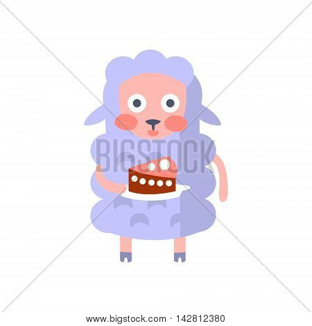 Sheep With Party Attributes Girly Stylized Funky Sticker. Funny Colorful Flat Vector Illustration For Kids On White Background