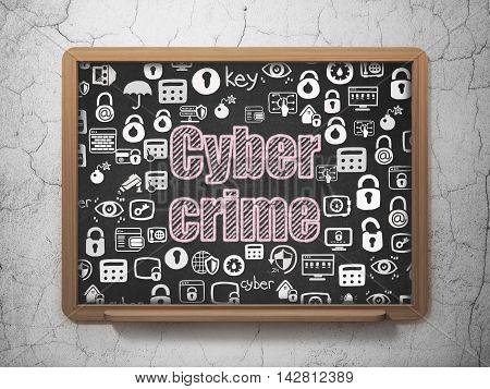 Privacy concept: Chalk Pink text Cyber Crime on School board background with  Hand Drawn Security Icons, 3D Rendering