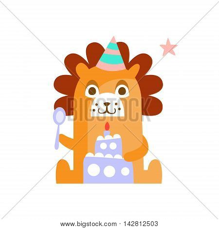 Lion With Party Attributes Girly Stylized Funky Sticker. Funny Colorful Flat Vector Illustration For Kids On White Background
