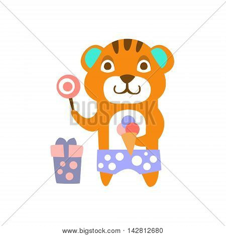 Tiger With Party Attributes Girly Stylized Funky Sticker. Funny Colorful Flat Vector Illustration For Kids On White Background