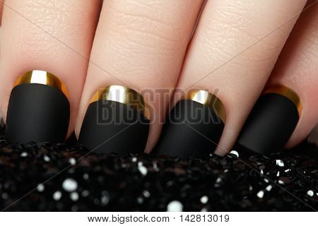 Manicure. Black Matte Nail Polish. Manicured Nail With Black Mat