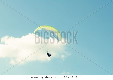 Paraglider Turning Around In The Sky
