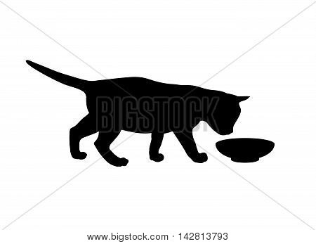 Kitten eats from a bowl. Black silhouette on white background. Vector illustration