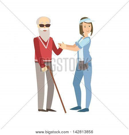 Volunteer Helping A Blind Old Man Flat Illustration Isolated On White Background. Simplified Cartoon Character In Cute Childish Manner.