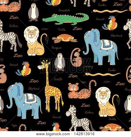 Vector seamless pattern with hand drawn colored animals on black color. Pattern on the theme of zoo. Background for use in design packing web site fabric