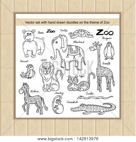 Vector set with hand drawn isolated doodles on the theme of zoo. Flat illustrations of animals. Sketches for use in design web site packing textile fabric