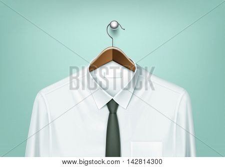 Vector Clothes Coat Brown Wooden Hanger with White Shirt and Black Tie Close Up Isolated on Background