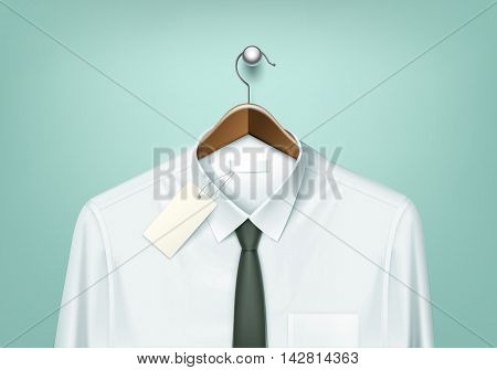 Vector Clothes Coat Brown Wooden Hanger with White Shirt and Black Tie with Blank Tag Label Close Up Isolated on Background