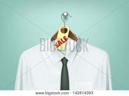 Vector Clothes Coat Brown Wooden Hanger with White Shirt and Black Tie with Sale Tag Label Close Up Isolated on Background