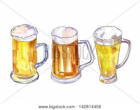 watercolor mugs of beer, alcohol drink, octoberfest symbol, hand drawn illustration, oktoberfest template