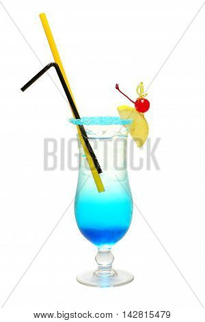 Blue Lagoon tasty Cocktail isolated on white