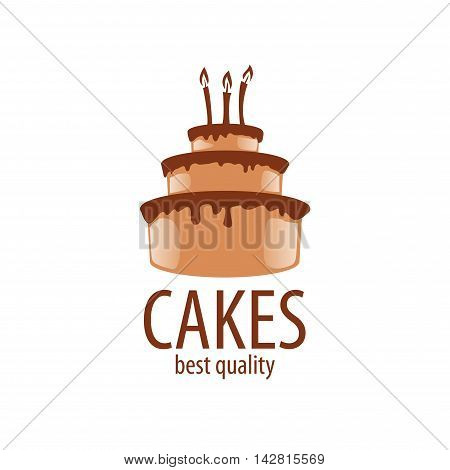 Cake logo design template. Vector illustration of icon