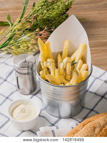 French Fries  in Iron Bucket with Mayonnaise