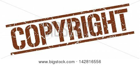 copyright stamp. brown grunge square isolated sign