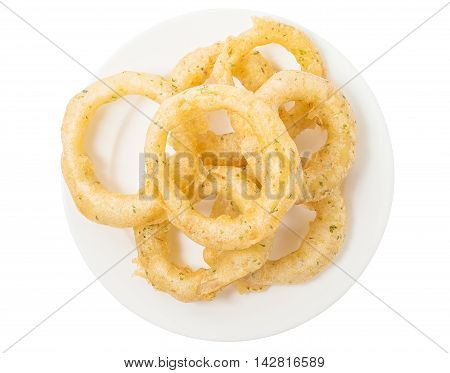Onion Rings on White Plate and white background