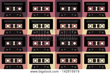 Seamless retro texture of old cassettes. Vector background for your creativity