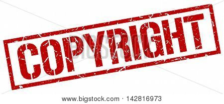 copyright stamp. red grunge square isolated sign