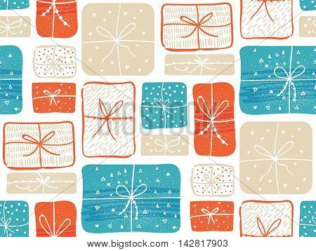 Gifts pattern with red and blue present boxes. Seamless vector background
