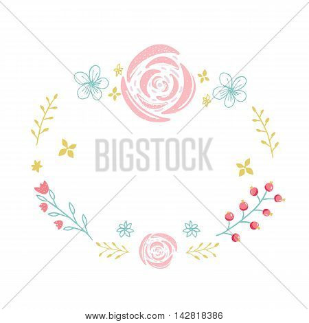 Hand drawn floral wreath with small flowers, rose and branches. Circle frame with copyspace isolated om white background.
