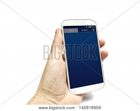 Smartphone With Dutch Apps Hand Held Isolated On White
