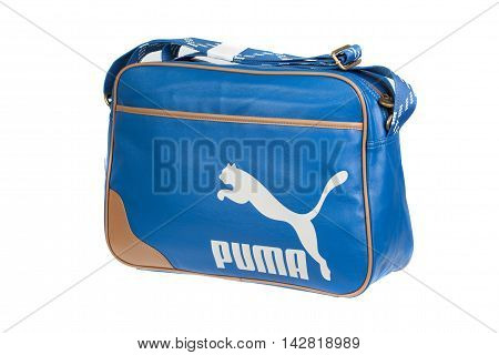 Varna Bulgaria - MARCH 18 2014 PUMA Blue leather bag. Puma a major German multinational company. Isolated on white. Product shots